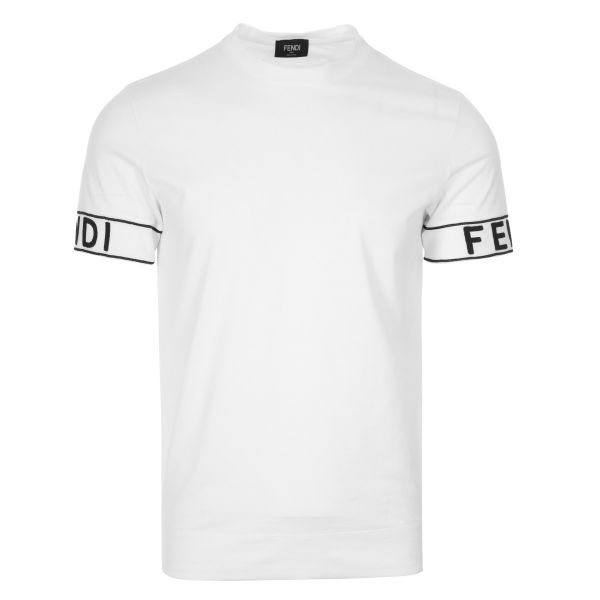 Fendi Logo Embroidered Sleeves T-Shirt