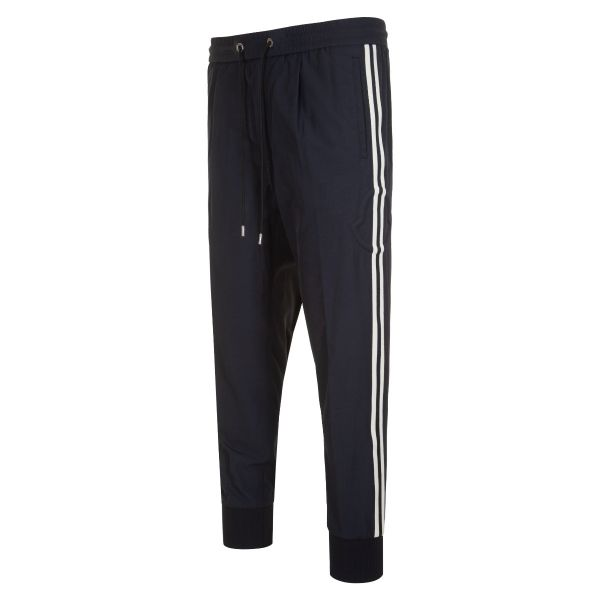 Moncler Athletic Stripe Embossed Logo Trousers