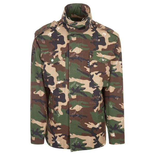 Off White Camouflage Pattern Field Jacket