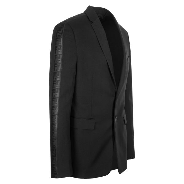 Fendi Embroidered FF Motif Sleeve Blazer