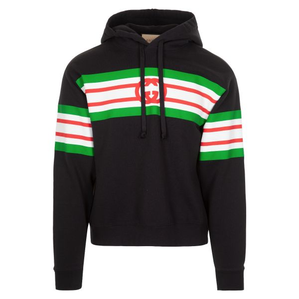 Gucci Interlocking G Print Striped Hoodie