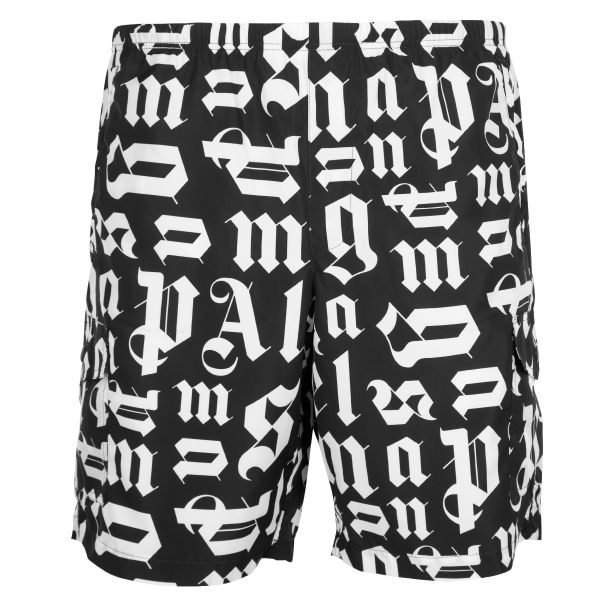 Palm Angels All Over Lettering Logo Swim Shorts