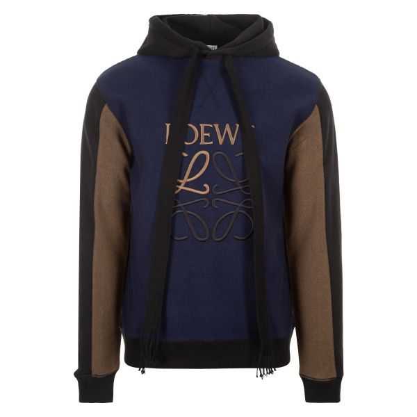 Loewe Embroidered Anagram Reverse Fleece Hoodie