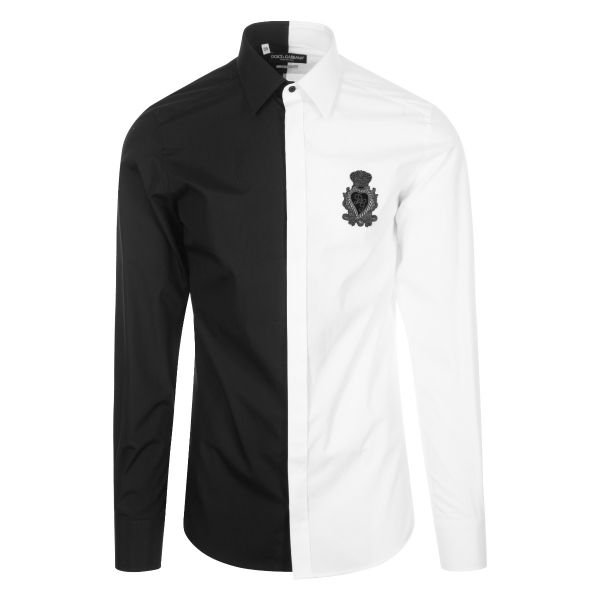 Dolce & Gabbana Two Tone Embroidered Logo Shirt