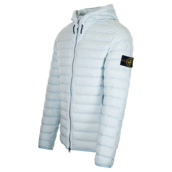 Stone Island Logo Quilted Shell Down Hooded Jacket