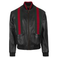 Gucci Webbed Leather Bomber Jacket